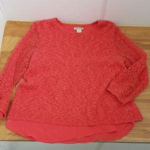 ❤LUCKY BRAND crocheted armed doubke layer top, XL